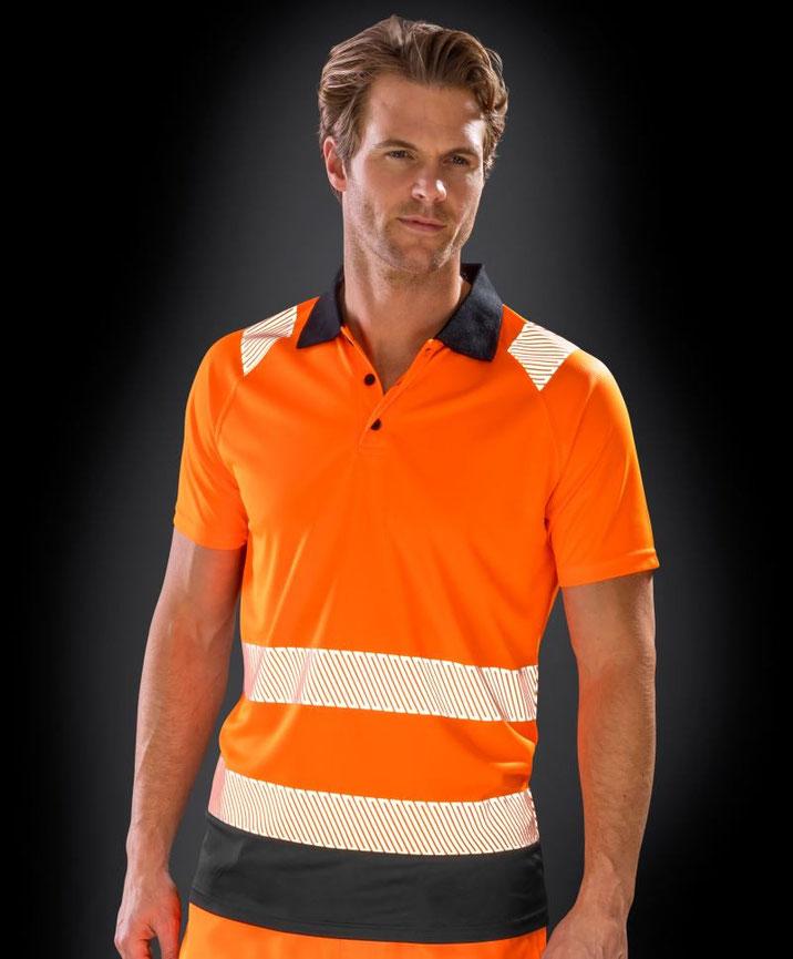 Polo, Sicherheitsbekleidung, besticken, bedrucken lassen, Arbeitsbekleidung, Steiermark, EN ISO 20471:2013 A1:2016 Klasse 2, bedruckt, bestickt, in gelb u. orange lieferbar