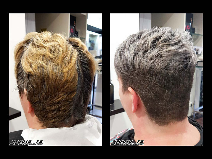 Coloration Haarfarbe silber grau silver grey granny-hair vorher nachher