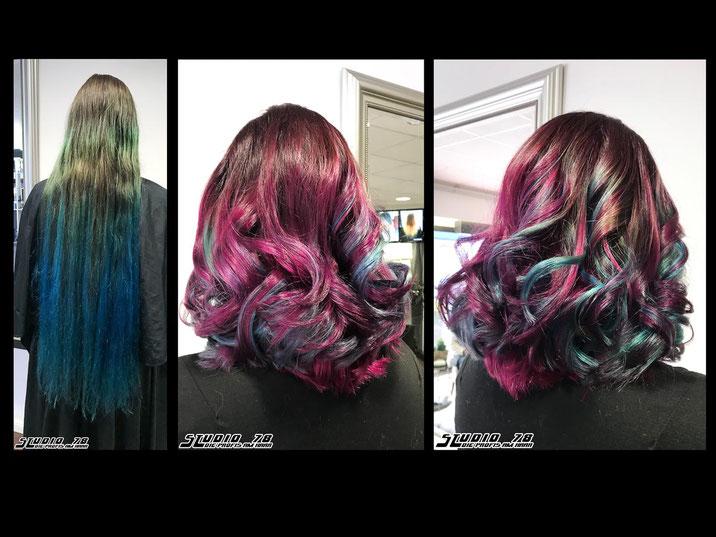 Coloration Haarfarbe vorher nachher Neon Directions
