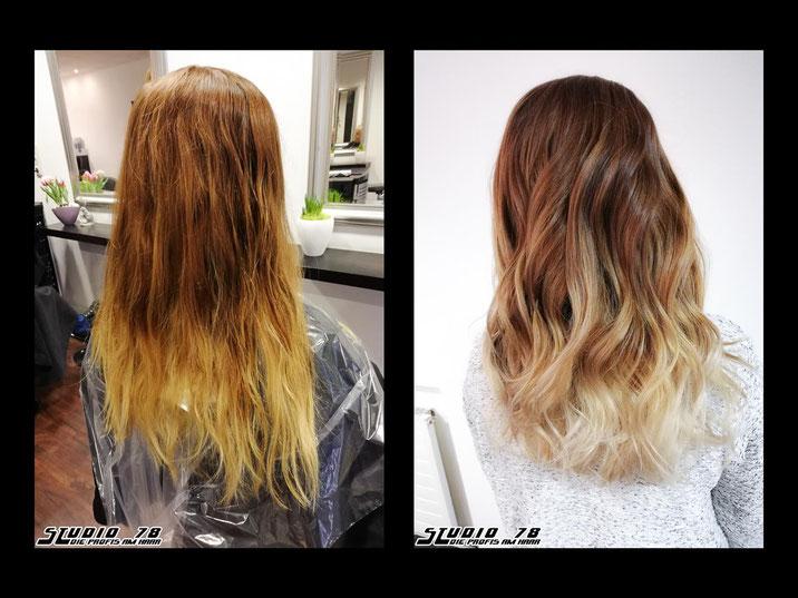 Coloration Haarfarbe Blond Balayage vorher nachher