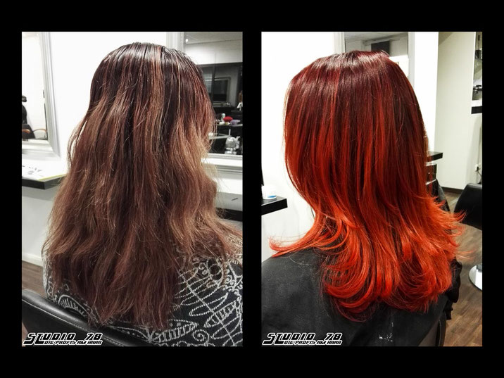 Coloration Haarfarbe Balayage Flame Vorher Nachher