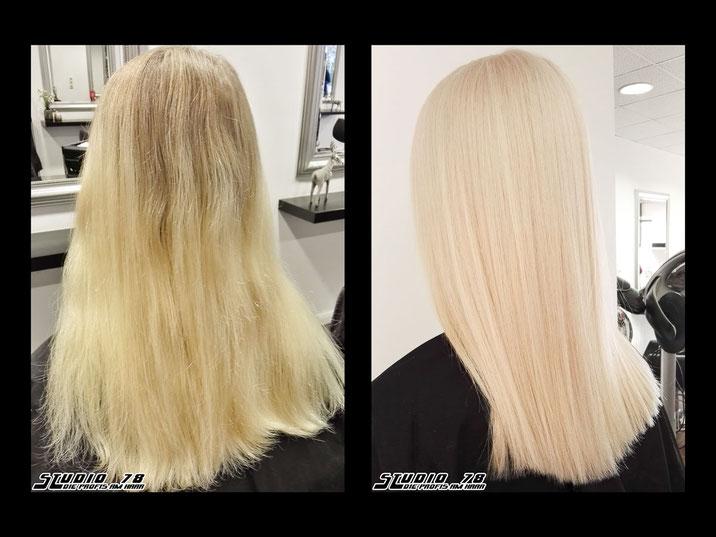 Coloration Haarfarbe Blond Platin Atomic weiß vorher nachher