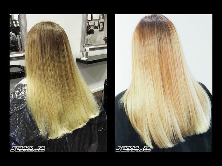 Coloration Haarfarbe Blond vorher nachher