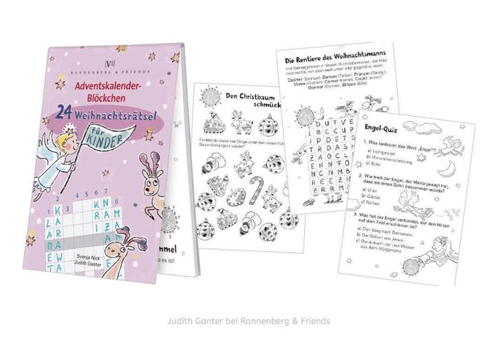 24 WEIHNACHTSRÄTSEL FÜR KINDER - Illustration & Text Judith Ganter, Hamburg - Verlag Rannenberg & Friends, Rätsel, Geschenkartikel
