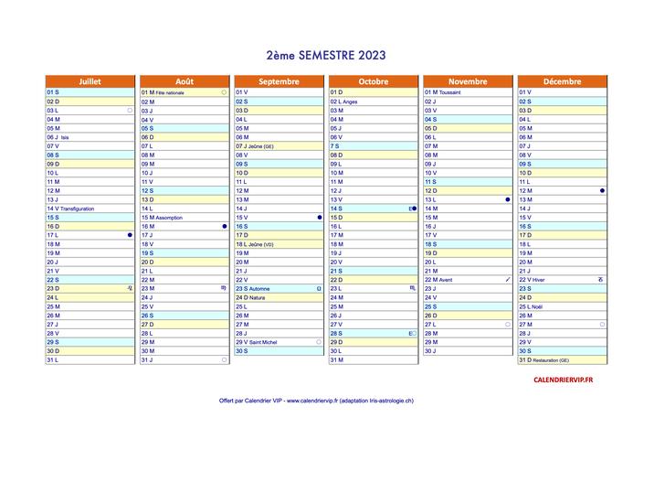 Calendrier 2020 Deuxieme Semestre.Calendriers Annuels 2018 2019 Suisse Excel Vierge Et