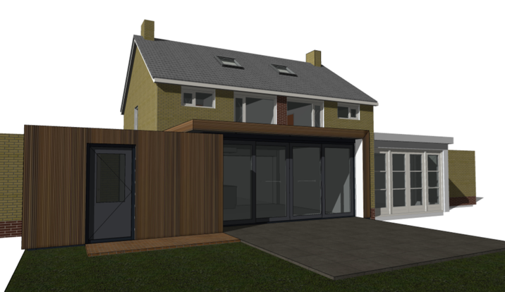 ontwerp uitbreiding keuken - woonkamer woning fam. Van der Wal - Hartwig