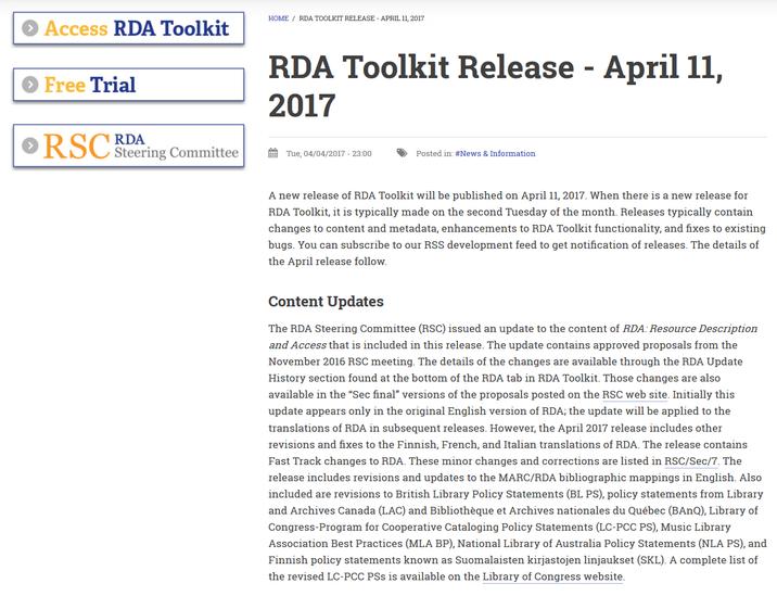 Infos zum April-Release auf der Website des RDA Toolkit