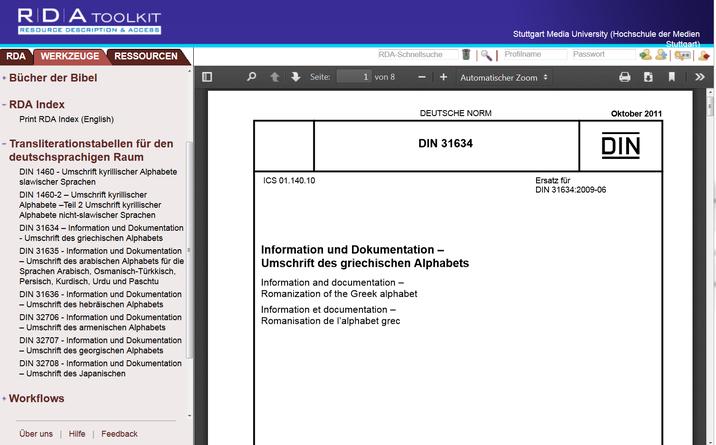 Screenshot aus dem RDA Toolkit (www.rdatoolkit.org), verwendet mit Genehmigung der RDA-Verleger (American Library Association, Canadian Library Association und CILIP)