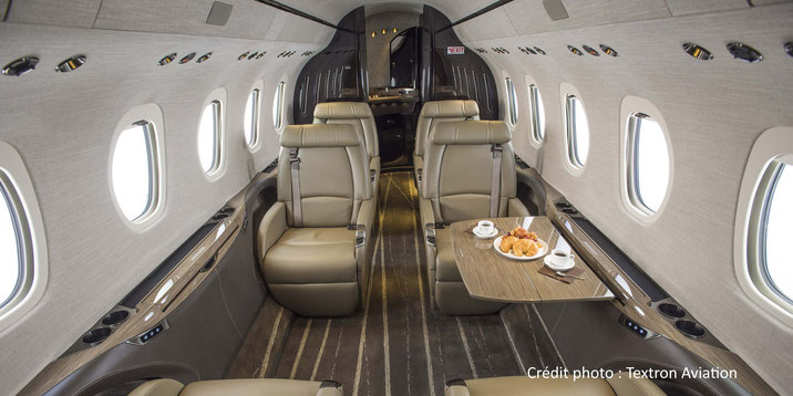 La cabine spacieuse du Cessna Citation Latitude