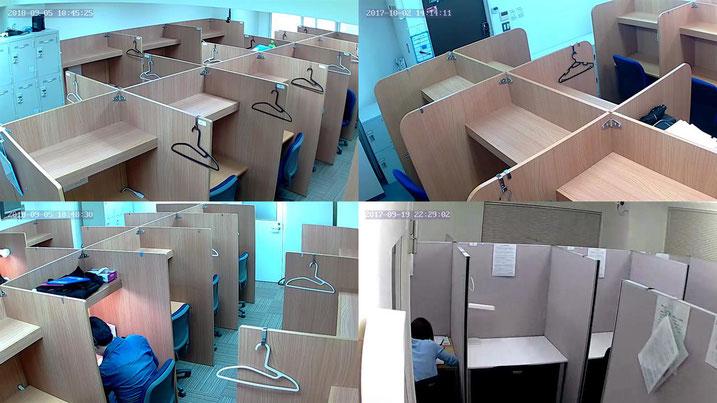 有料自習室CUBE 防犯カメラ監視体制の一例