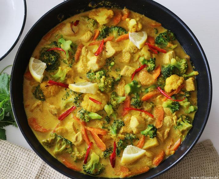 Geflügel-Gemüse-Curry Oligarto Rezepte Bio Olivenöl