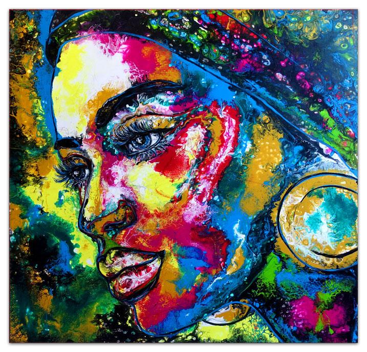 Kiss Me 5 Fluid Art Pouring Moderne Malerei Liebespaar grün Wandbild original Gemälde
