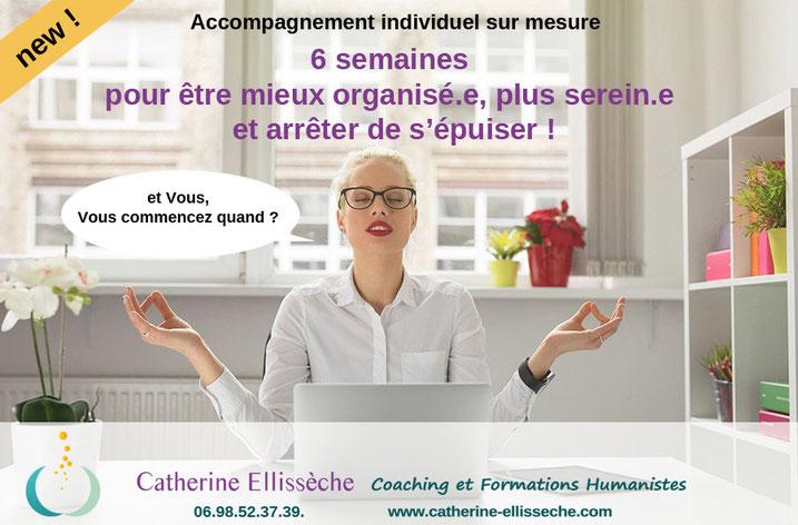 gestion du temps, organisation, gestion du stress, procrastination, arrêter d'être débordée, Catherine Ellissèche Coach, coaching, Nantestes