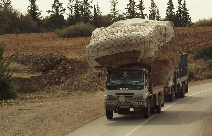 Lastwagen mit Stroh überladen in Marokko