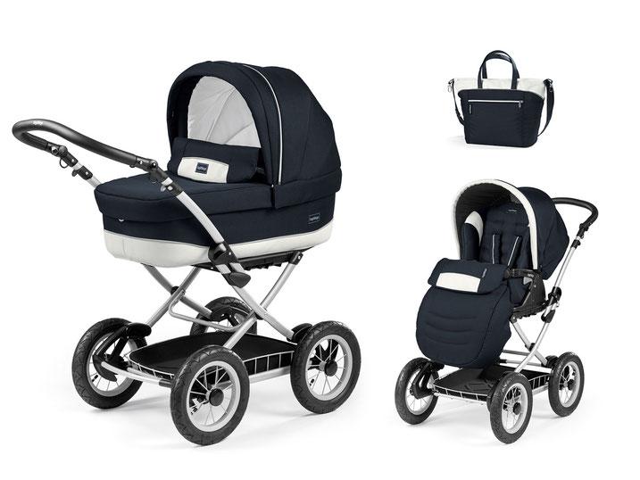 Kinderwagen Culla Elite übersicht dessin luxe blue gestell silber