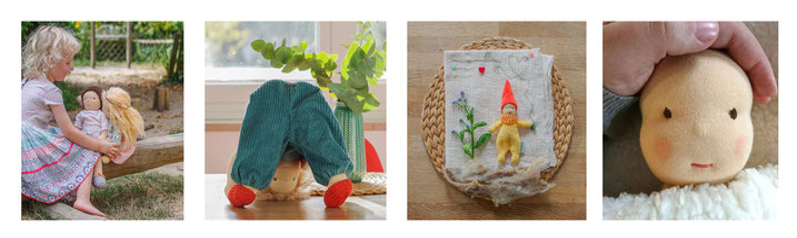 Handmade custom fabricdolls from natural materials like a traditional waldorfdoll