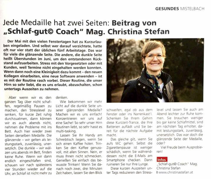 Artikel aus StadtGemeinde Zeitung Mistelbach, Juni 2018 mit Foto der Autorin