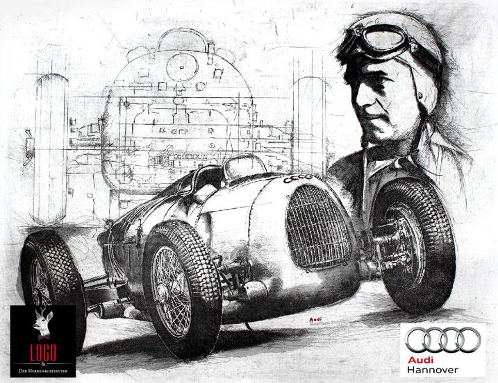 Auto Union Bernd Rosemeyer - Original-Radierung