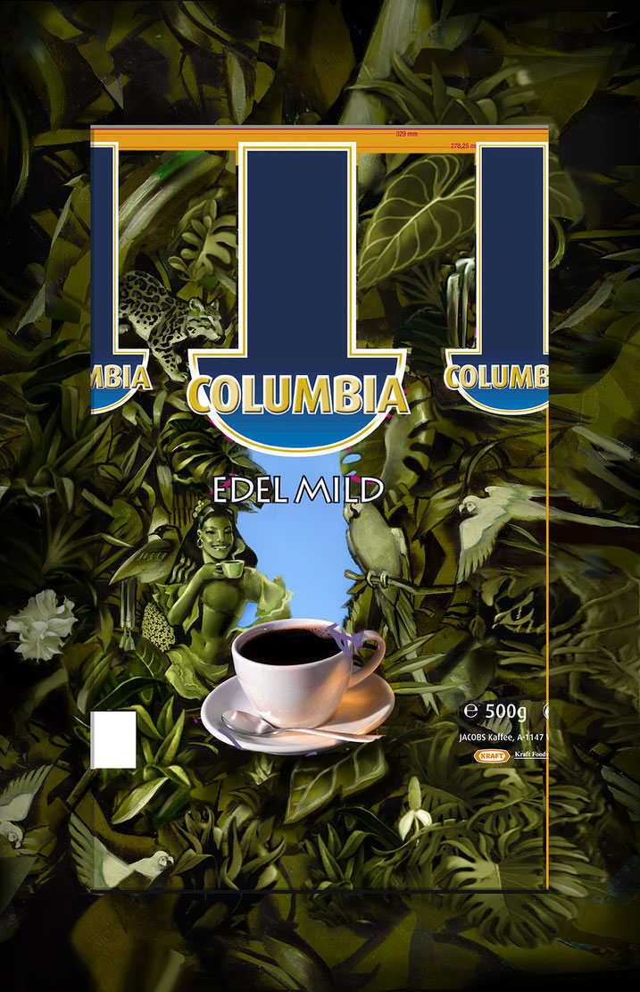 Illustration for a Coffee-Packaging in  Henri Rousseau Style