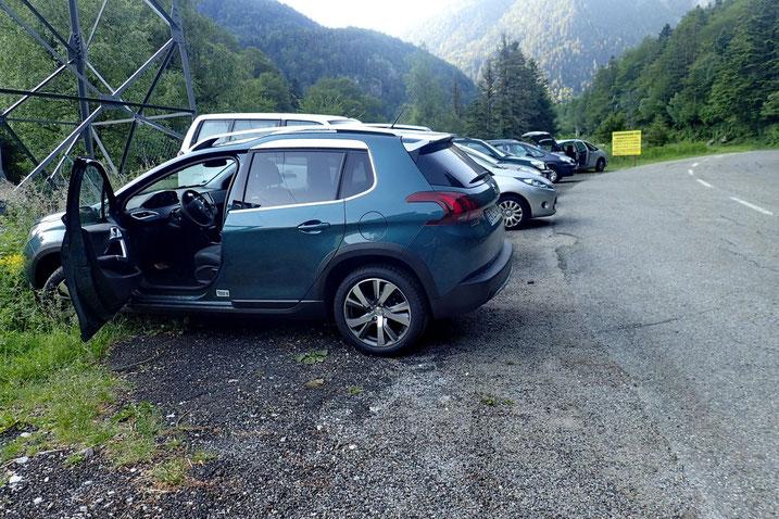 Parking, 1 km avant Gabas.