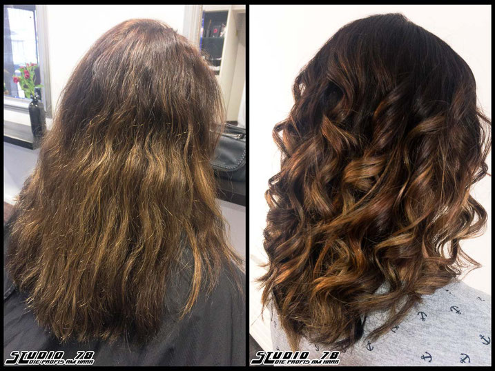 Coloration Haarfarbe Braun brown curls locken waves wave vorher nachher