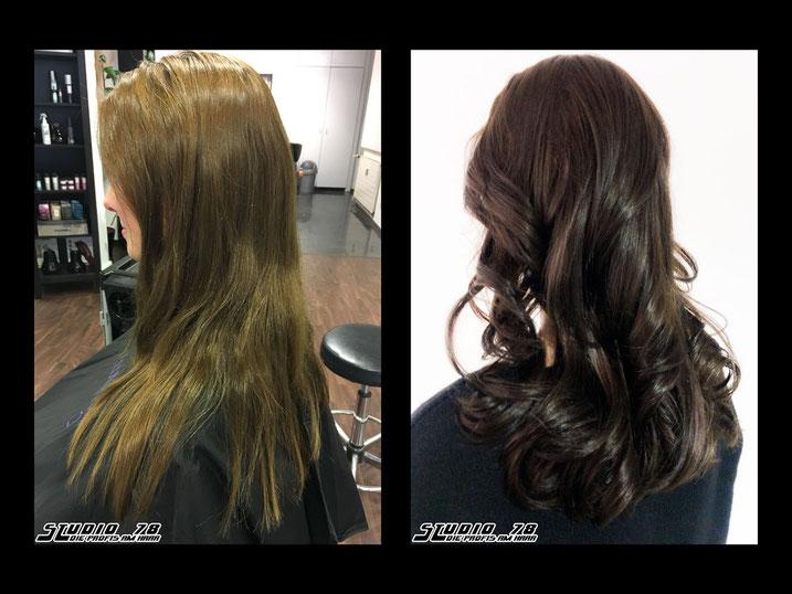 Coloration Haarfarbe Braun vorher nachher
