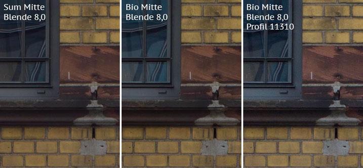 Vergleich mit Leica M9 bei Blende 8,0: Summicron-M 2,0/35mm Asph. vs. Biogon ZM 2,0/35mm ohne/mit Profil. Foto: Klaus Schoerner