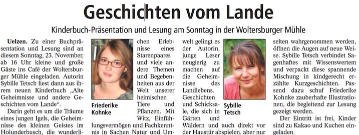 """aus: """"Uelzener Allgemeine Zeitung"""", 19.11.2014"""