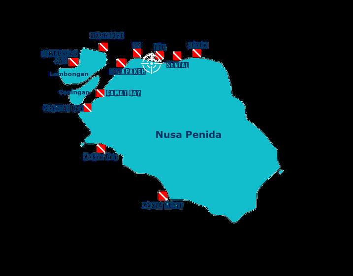 Carte des sites de randonnée palmée ou snorkeling de Nusa Penida et Nusa Lembongan à Bali