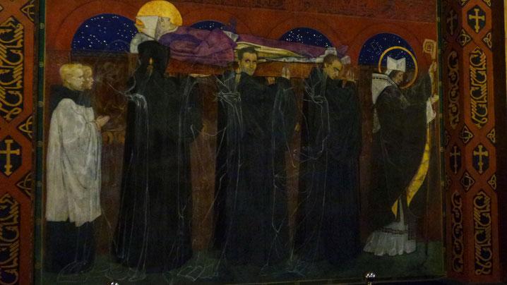 """Фреска Яна Розена """"Погребение Святого Одилона"""". Мужчины несущие тело - аллегория времени: прошлое, настоящие и будущее."""