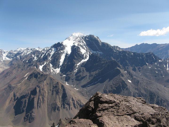 Aconcagua 6962 m, fotografiert vom Mt Santa Elena
