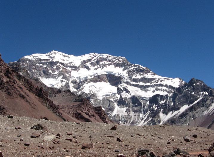 La pared sur de Aconcagua 6962 m, Fotografía desde la Plaza Francia