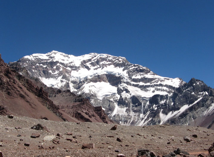 South Face of Aconcagua 6962 m, seen from Plaza Francia