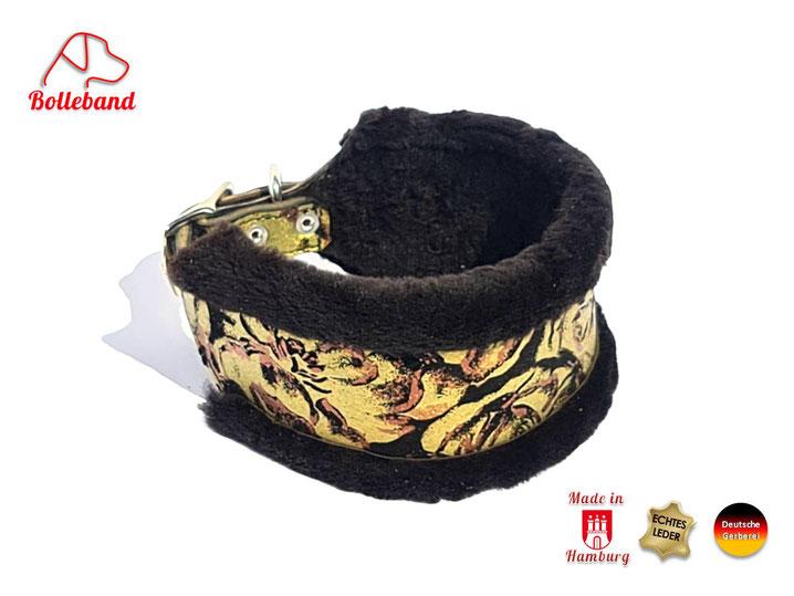 Windhundhalsband mit Polster und weichem schwarzem Fell 6 cm breit und Edelstahlverschluss Handarbeit von Bolleband