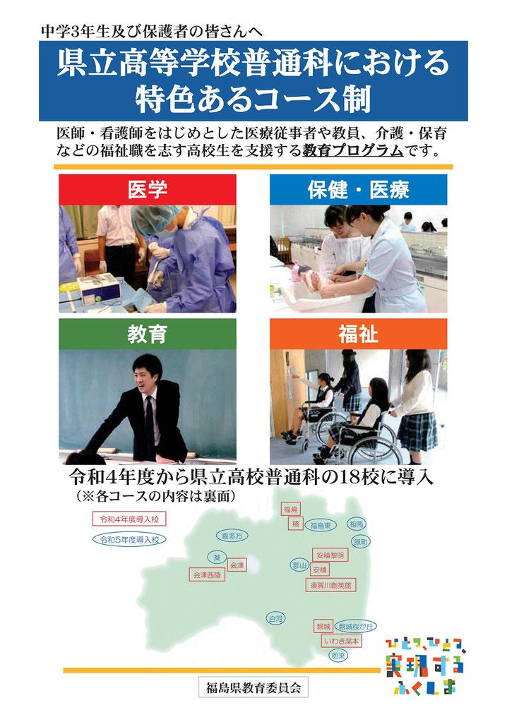 福島県立高校普通科,コース制導入,医学,保健・医療,教育,福祉