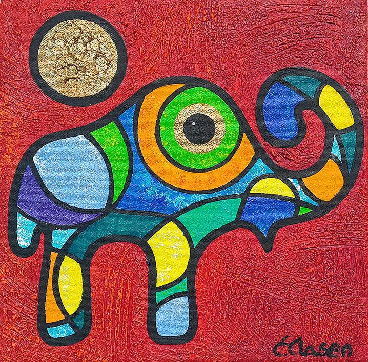 "Edda Clasen, ""Mirófanti, red"", 30 x 30 cm"