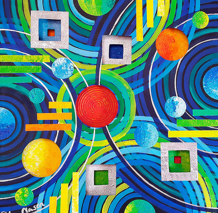 "Edda Clasen, ""Gotas de agua"", 60 x60 cm, 3D"