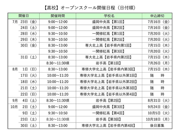 岩手県私立高校オープンスクール開催日程