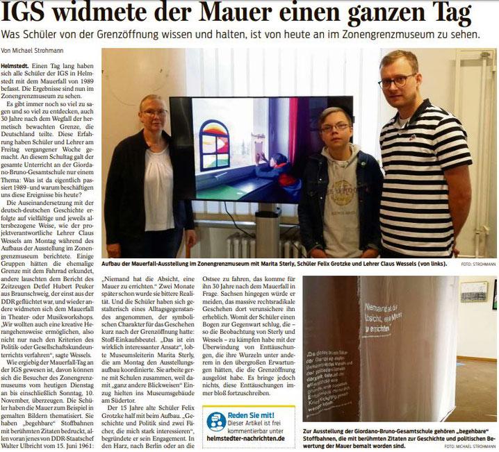 QUELLE: Braunschweiger Zeitung, Helmstedt - 5. November 2019 - Helmstedt - Seite 17 - Michael Strohmann © BZV Medienhaus GmbH, 2019