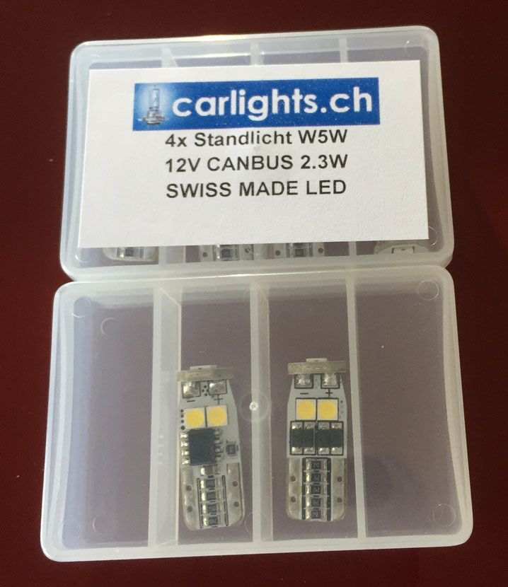 LED Standlicht W5W T10 canbus Swiss Made by www.carlights.ch  3 Jahre Garantie