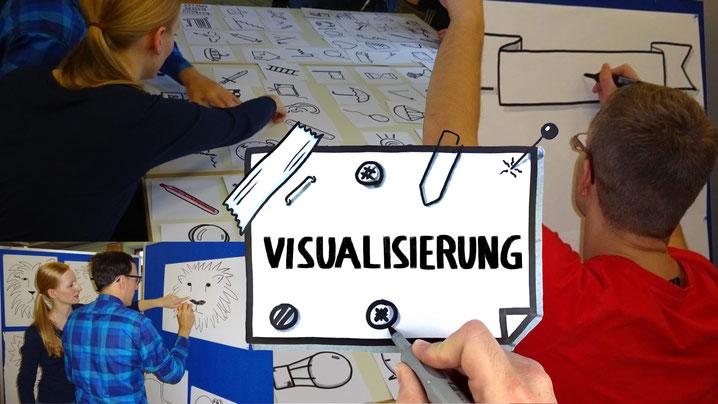 Visualisierungstrainings machen fit für das Gestalten von Flipcharts und Co. Dabei geht es sehr interaktiv zu.
