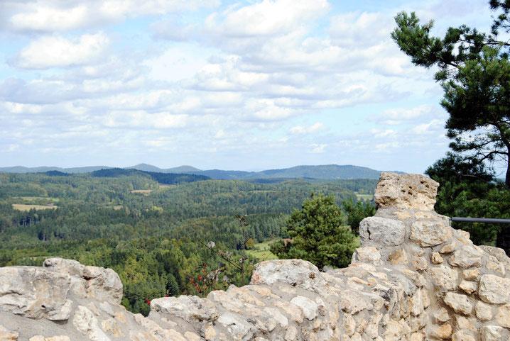 Blick von der Burgruine Lichtenegg über die oberpfälzische Kuppenalb nach Osten.