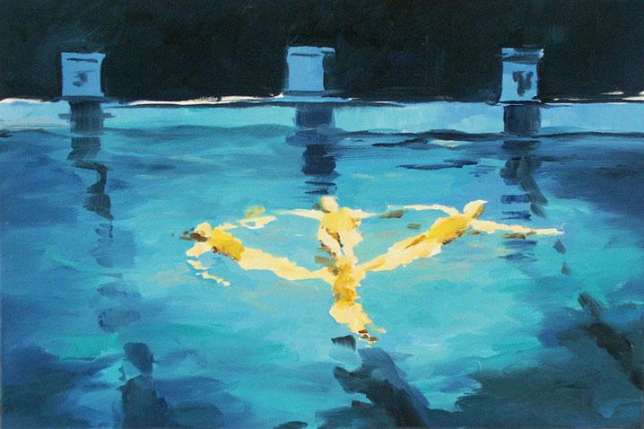 Schwimmerinnen 1999 Öl auf Nessel 56 x 76 cm