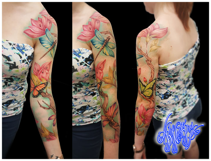 014a07c66 Blue Magic Pins custom flower color sleeve cherry blossoms nature magnolia  realistic color watercolor dragonfly butterflies