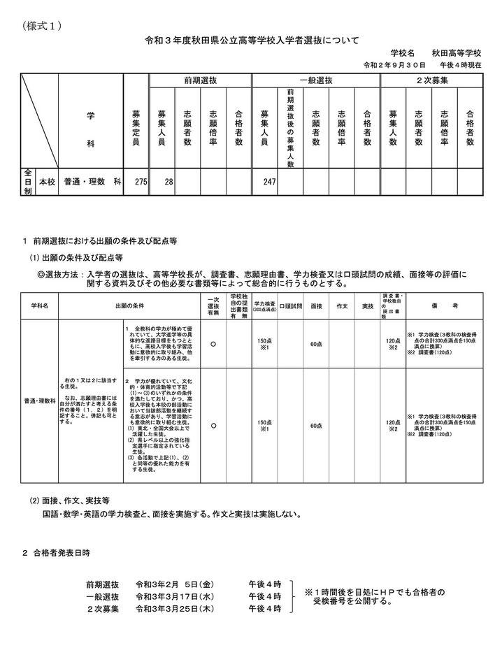 秋田県立高校 各校ごとの入学者選抜概要