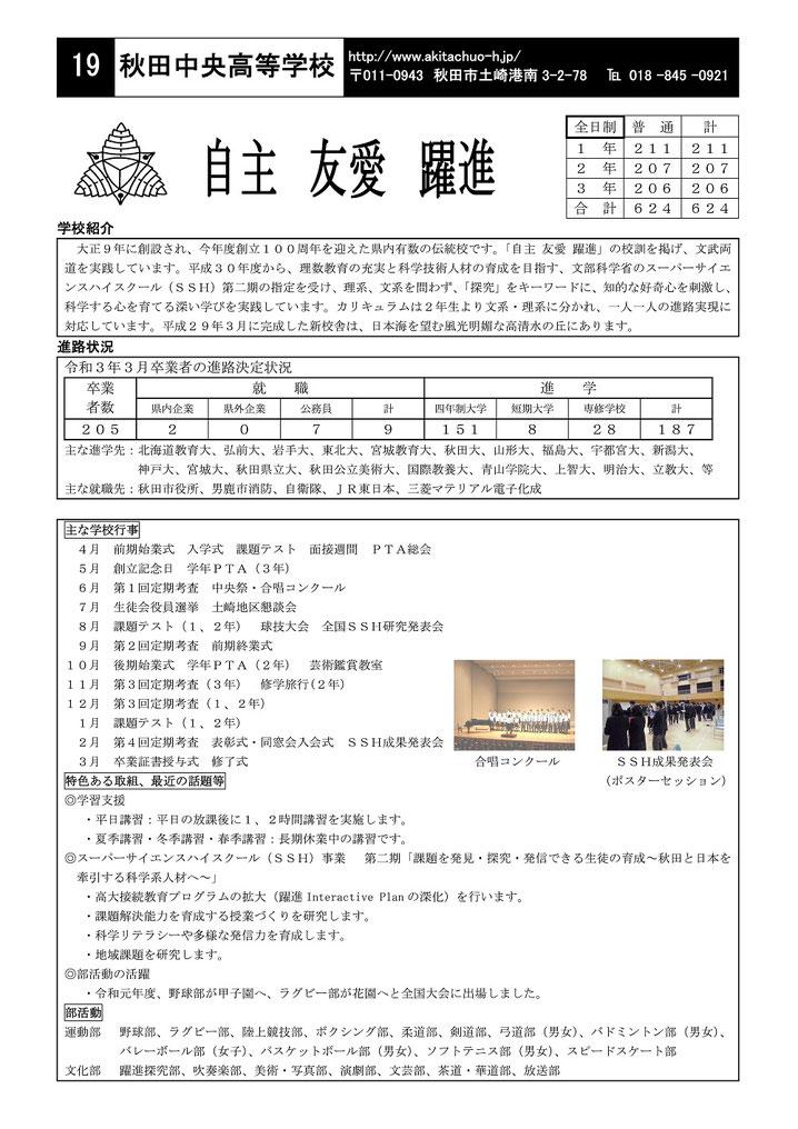 秋田県高等学校案内集,県立高校,私立高校,秋田県教育委員会