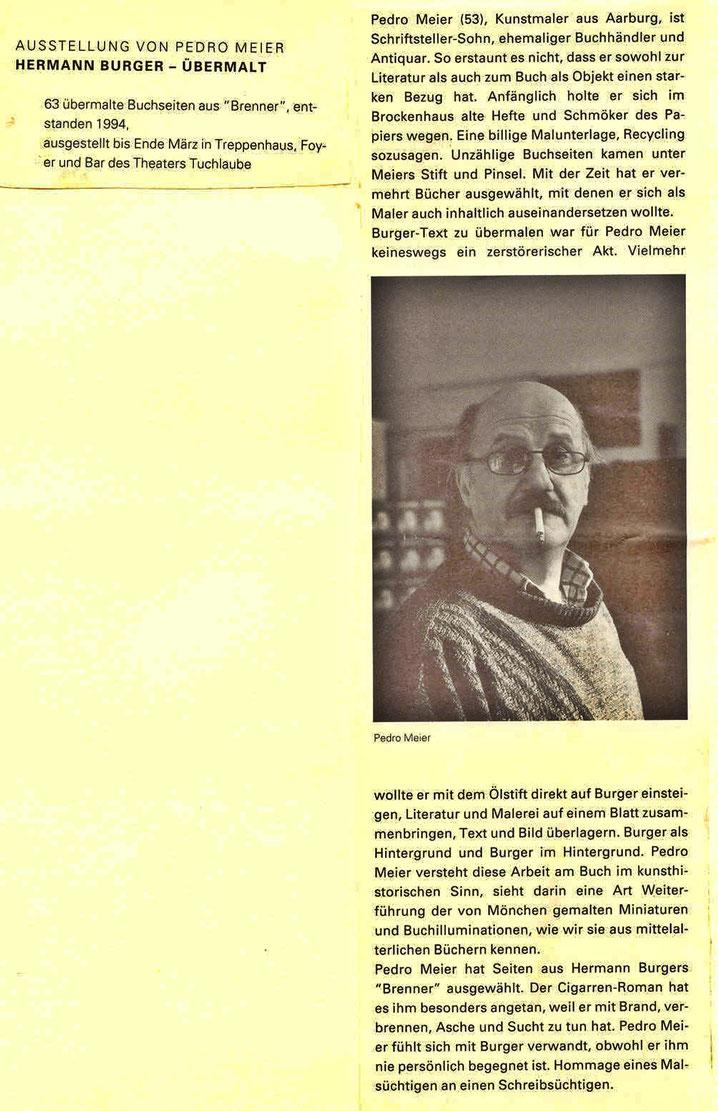 Pedro Meier – Theater Tuchlaube Aarau Ausstellung »Hermann Burger–Übermalt« 1994 – (Text: Aargauer Zeitung, Hannes Schmidt) – 63 übermalte Buchseiten aus dem Roman »Brenner« Ölstift mit collagierten Cuba Zigarren-Bauchbinden – Pedro Meier SIKART Zürich