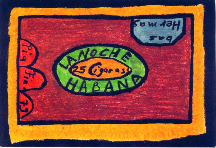 Pedro Meier – Galerie »Zur gelben Frau« Bremgarten – Bilder & Holzplastiken 1988 – Einladungskarte Zigarrenbox »LA NOCHE HABANA« Ausstellung Symbiose zwischen Asien und Europa – grossformatige Jute Ölbilder. © Pedro Meier Multimedia Artist SIKART Zürich