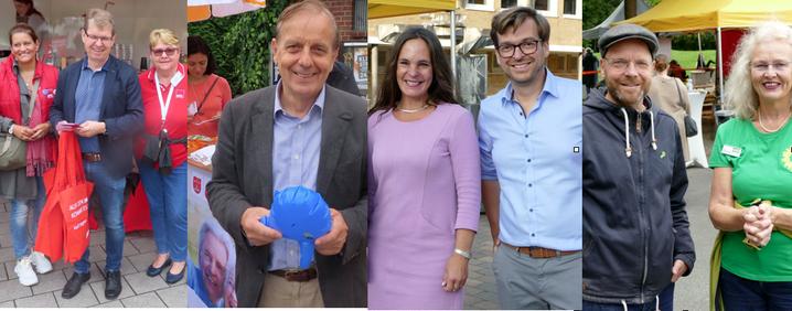 Die Direktkandidaten der vier großen Parteien waren in Wahlkampfzeiten auch in Quickborn: Ralf Stegner, Michael von Abercron, Philipp Rösch und Jens Herrndorff (v.l.)