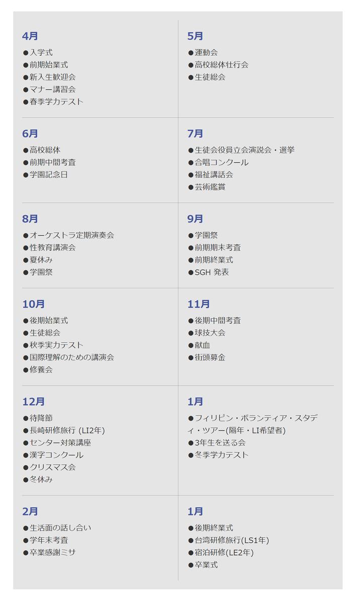 仙台白百合学園高校,人間性を育む365days